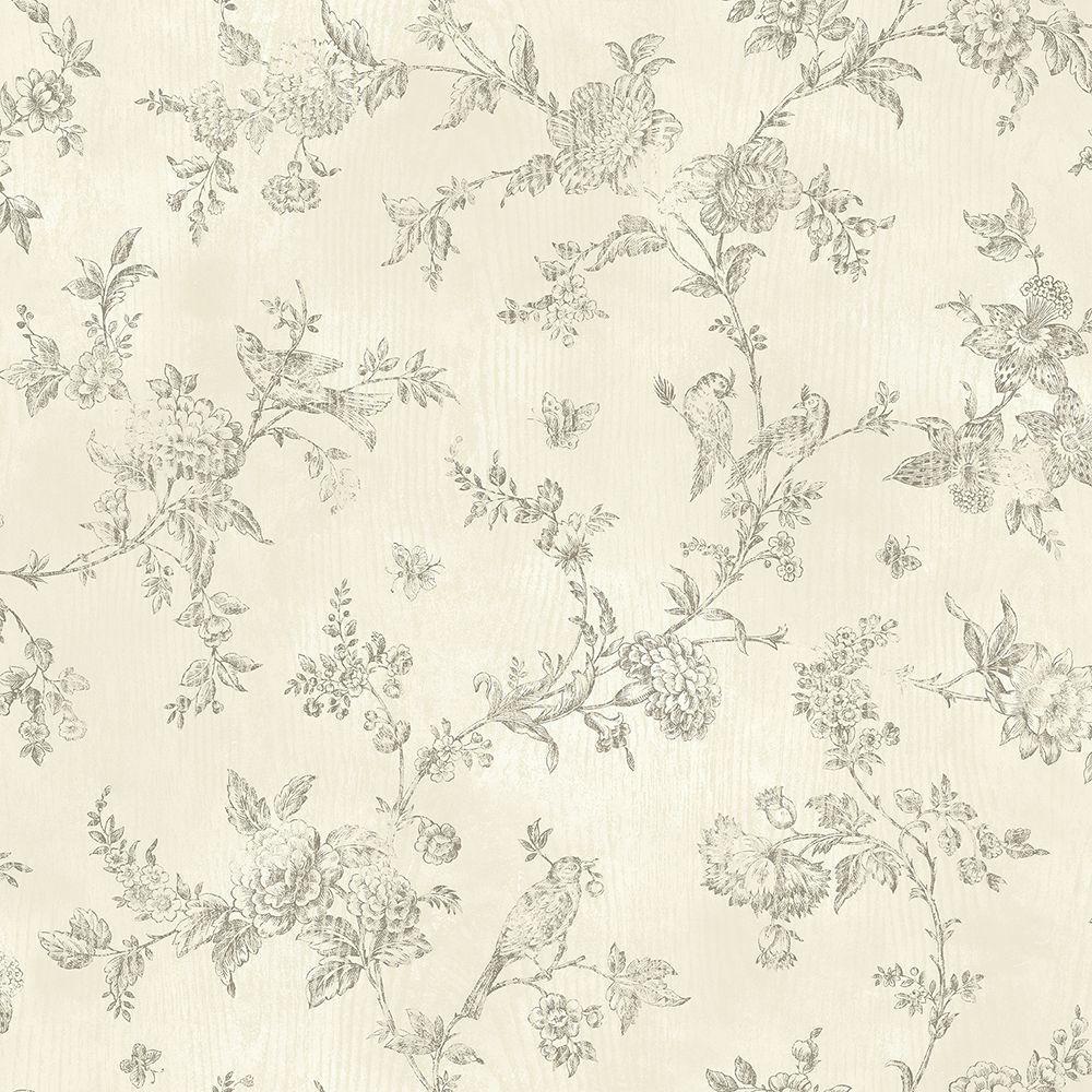 French Nightingale Cream Toile Wallpaper Sample