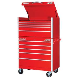 International SHD Series 42 inch 9-Drawer Tool Chest and Cabinet Combo in Red by International