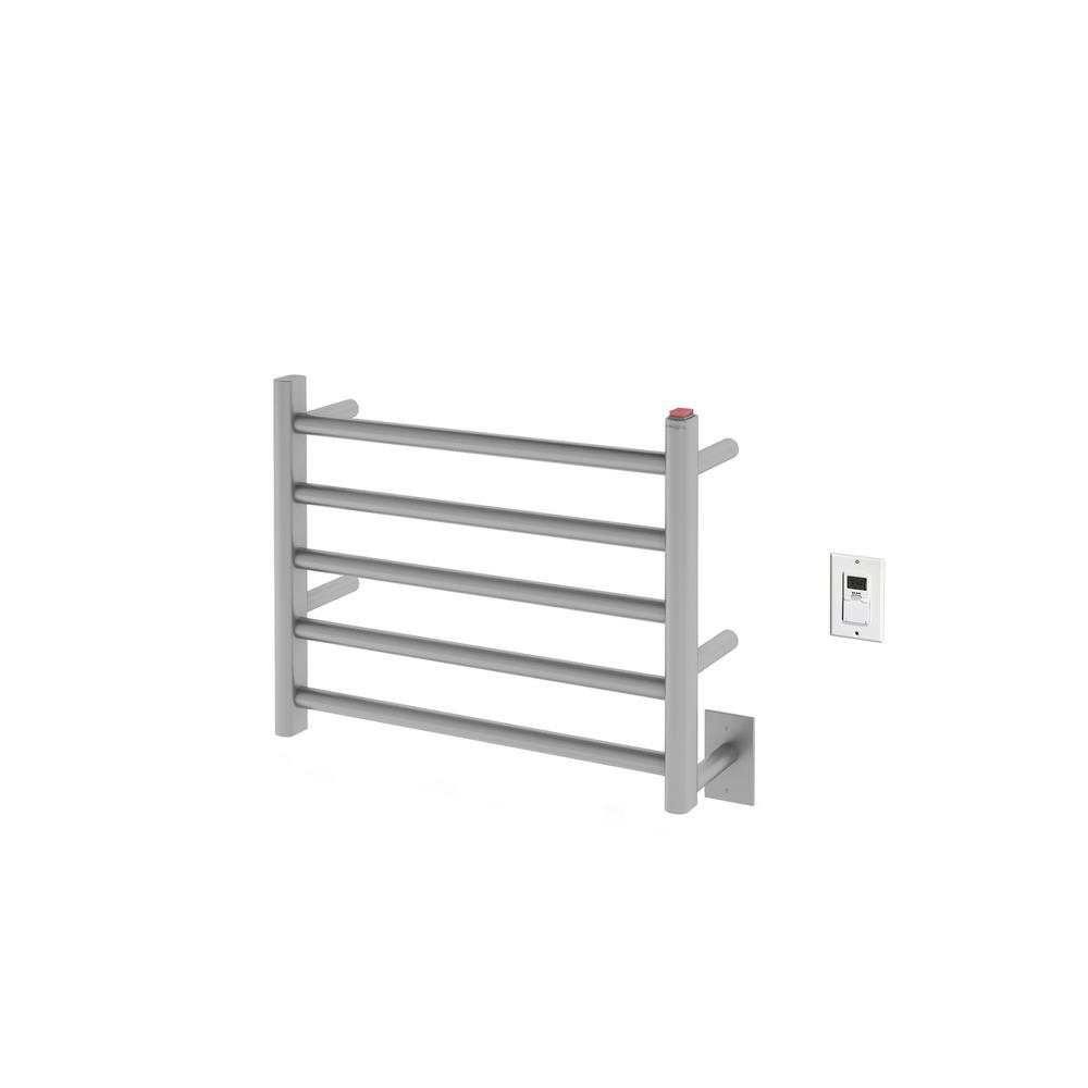 Prima Dual 5-Bar Hardwired and Plug-in Electric Towel Warmer in Brushed