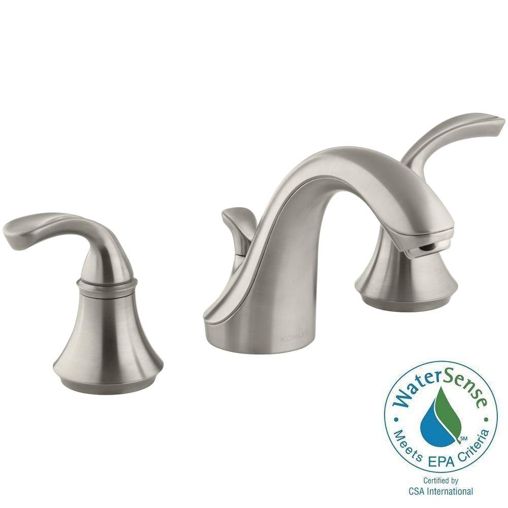 Perfect KOHLER Forte 8 In. Widespread 2 Handle Low Arc Bathroom Faucet In Vibrant  Brushed Nickel With Sculpted Lever Handles K 10272 4 BN   The Home Depot