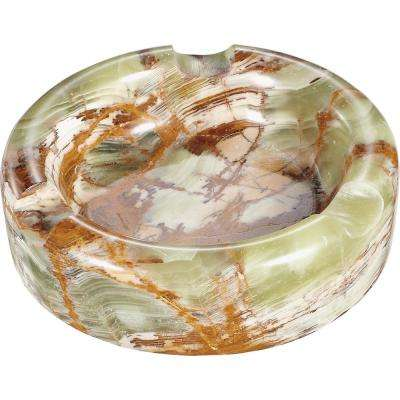 Sphere III Light Pink and Brown Onyx Stone Round Ashtray