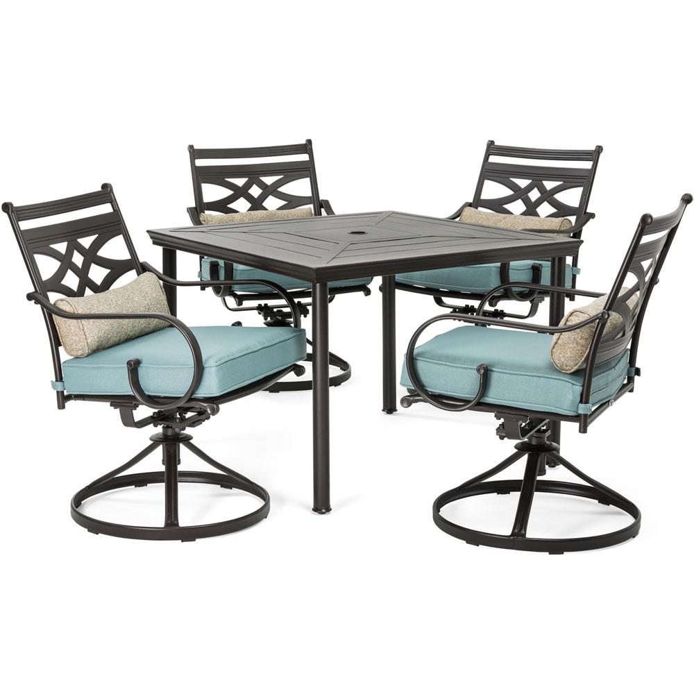 Hanover Montclair 5 Piece Metal Outdoor Dining Set With Ocean Blue  Cushions, Swivel Rockers