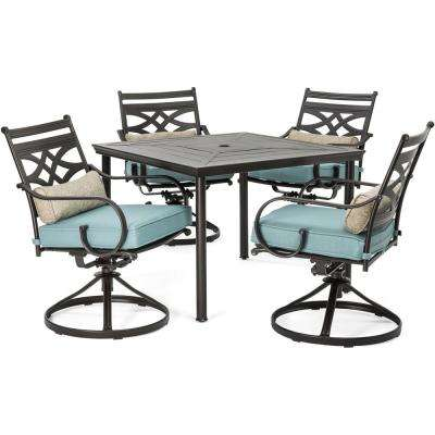 Montclair 5-Piece Metal Outdoor Dining Set with Ocean Blue Cushions, Swivel Rockers and Table