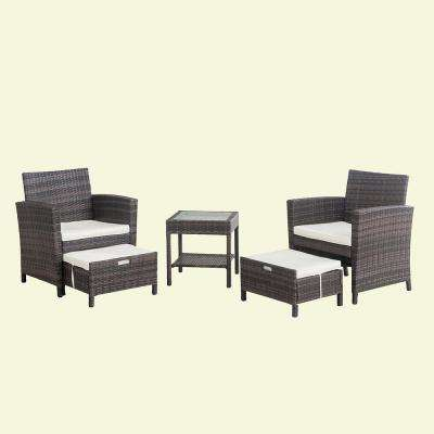 Chairman 5-Piece Wicker Patio Seating Set with White Cushions