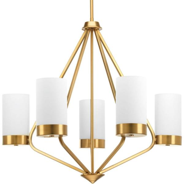 Elevate Collection 5-light Brushed Bronze Chandelier with Etched Glass Shade
