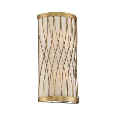 2 Light Warm Brass Sconce