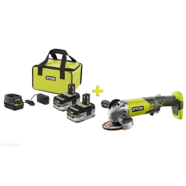 RYOBI 18-Volt ONE+ LITHIUM+ HP 3.0 Ah Battery (2-Pack) Starter Kit with Charger and Bag with Free ONE+ 4-1/2 in Angle Grinder