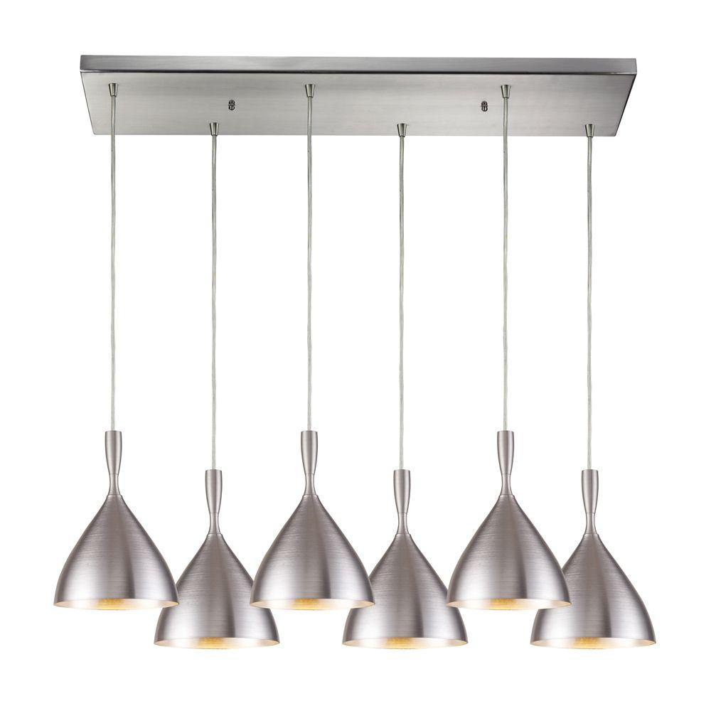 Titan Lighting Spun Aluminum 6-Light Satin Nickel Ceiling Mount Pendant
