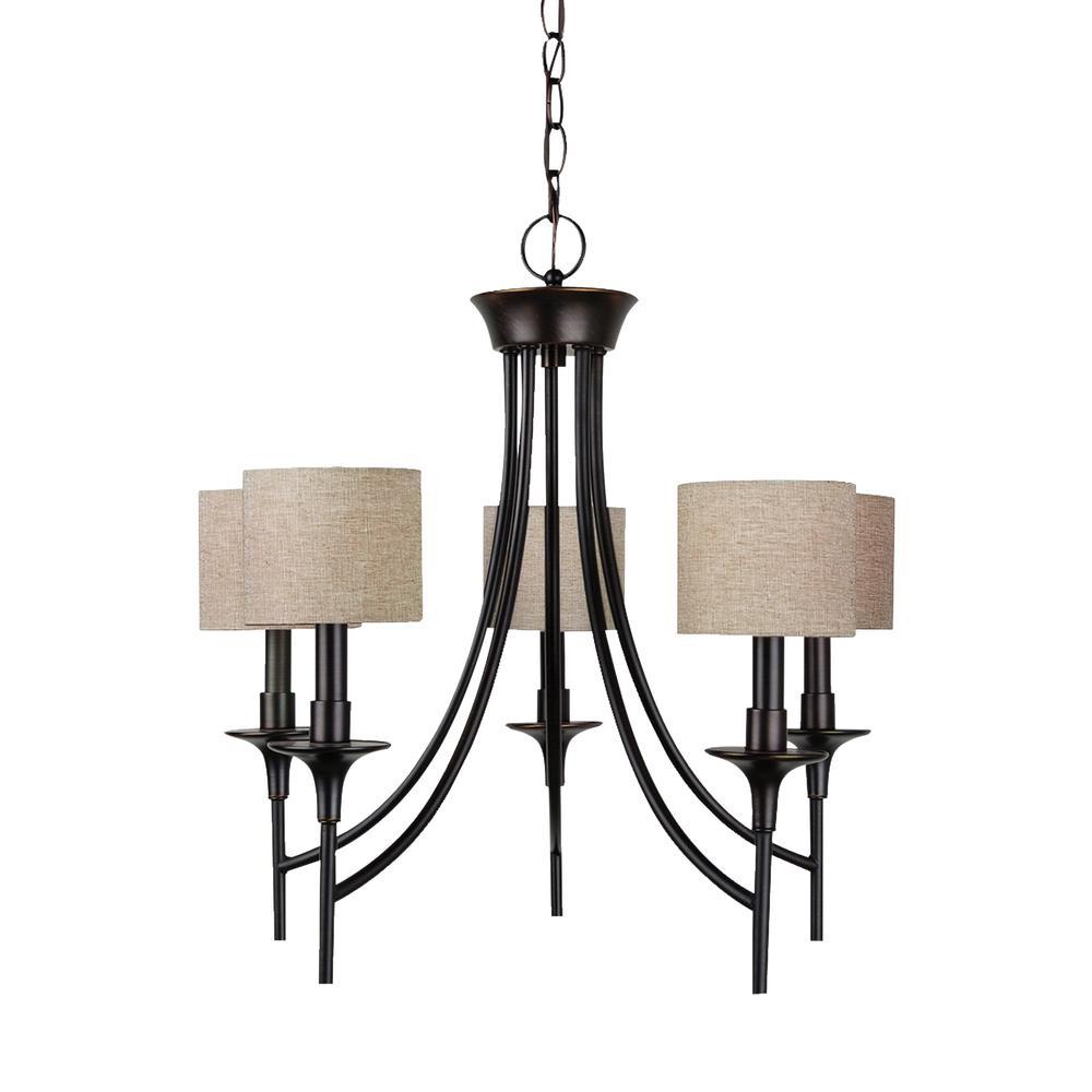 Stirling 5-Light Burnt Sienna Bronze Chandelier with Dimmable Candelabra LED Bulb