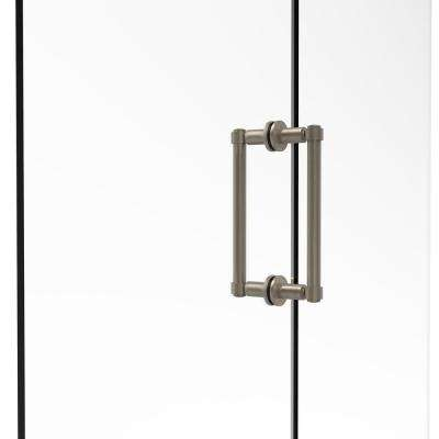 Contemporary 8 in. Back-to-Back Shower Door Pull in Antique Pewter