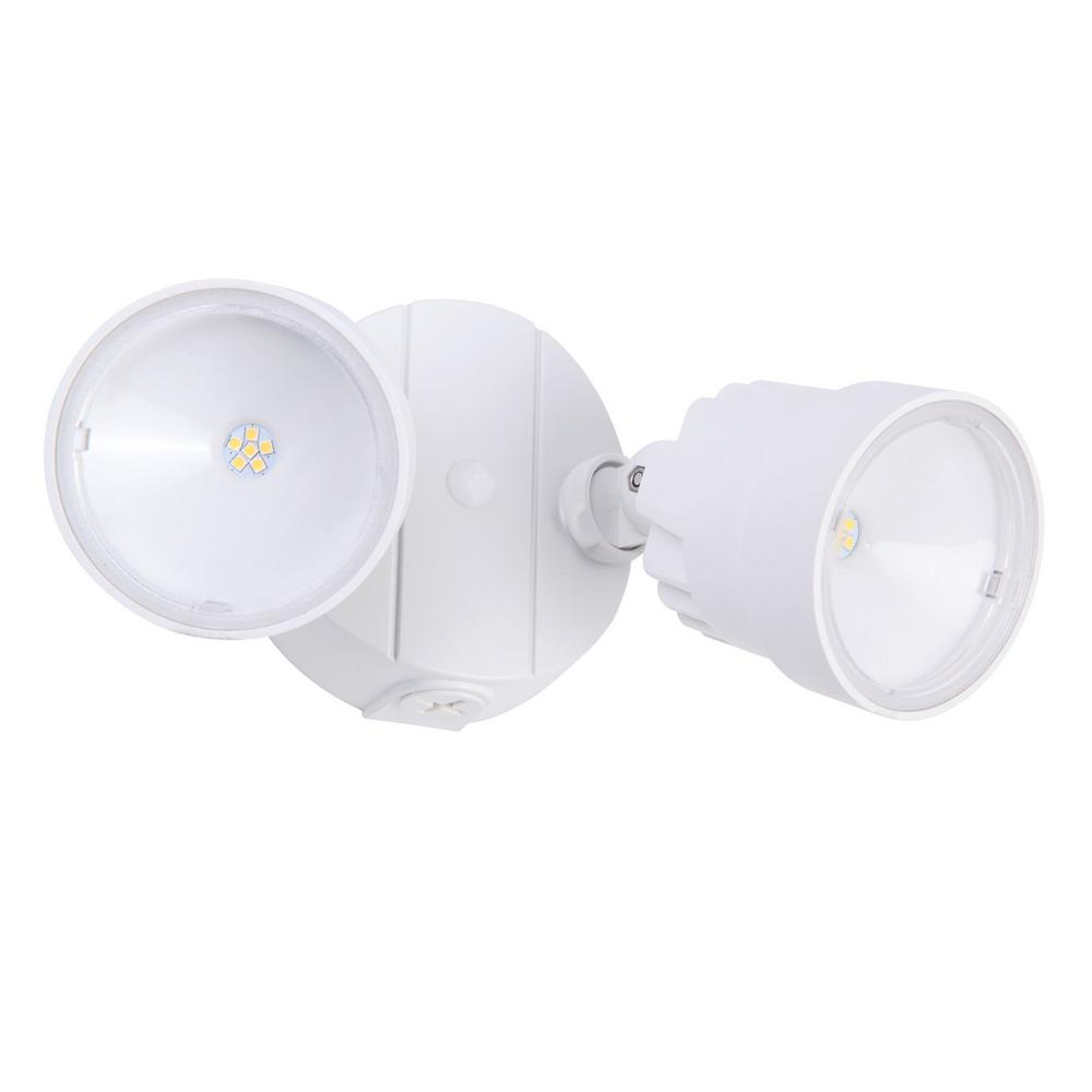 Lutec 2 Light White Outdoor Integrated Led Wall Or Eave Mount Flood Light