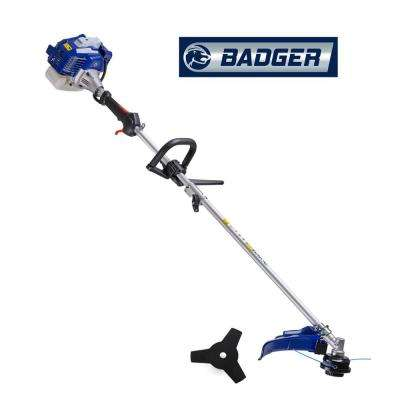 26 cc 2-Cycle 2-in-1 Gas Full Crank Straight Shaft Grass Trimmer with Brush Cutter Blade and Bonus Harness