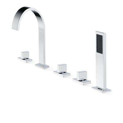 Klara Double-Handle Deck-Mounted Roman Tub Faucet in Polished Chrome
