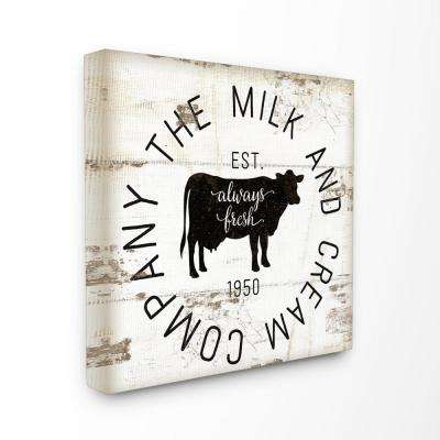 "24 in. x 24 in. ""Milk and Cream Company Vintage Sign"" by Jennifer Pugh Printed Canvas Wall Art"