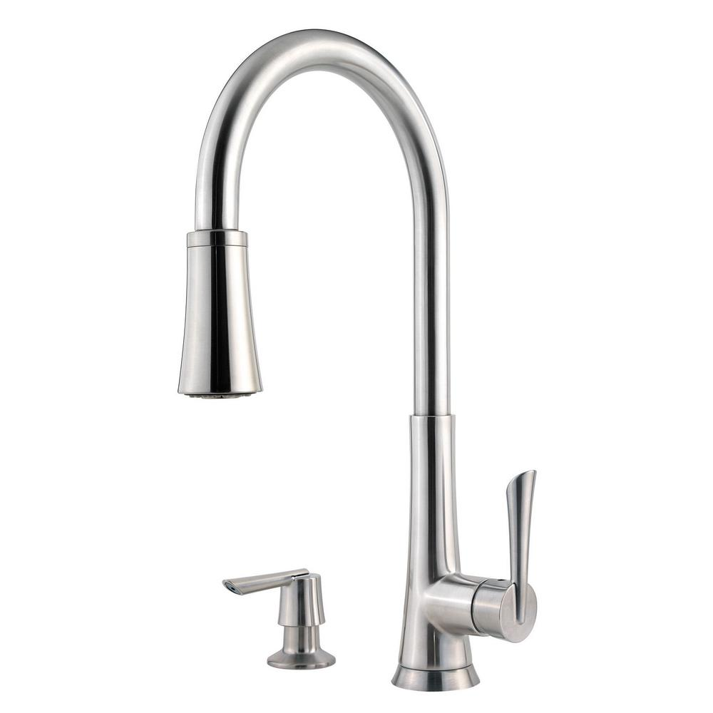 Mystique Single-Handle Pull-Down Sprayer Kitchen Faucet in Stainless Steel