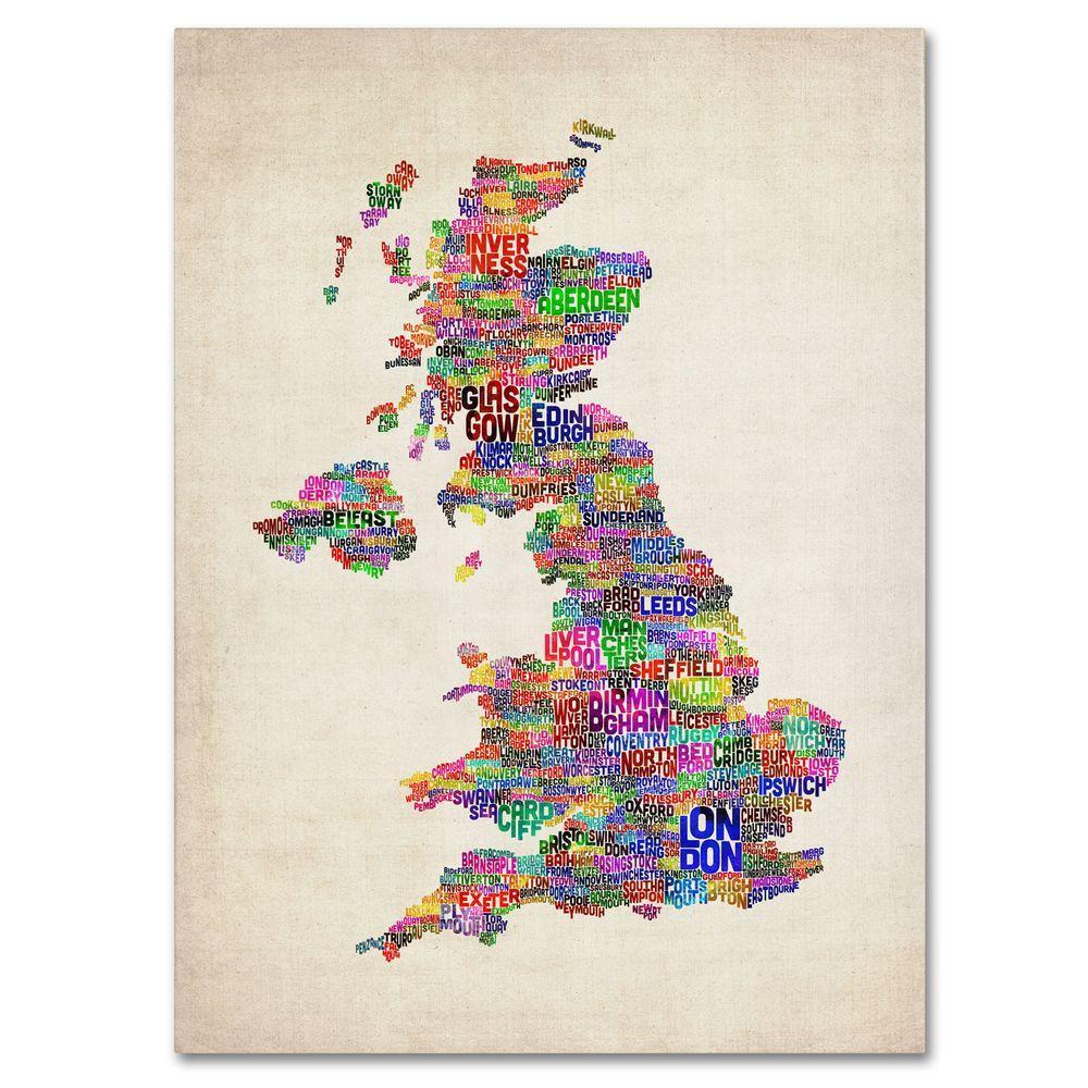 Trademark Fine Art 30 in. x 47 in. UK Cities Text Map Canvas Art