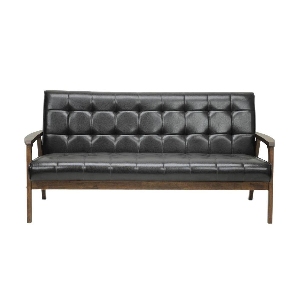 Superbe This Review Is From:Masterpiece Mid Century Dark Brown Faux Leather  Upholstered Sofa