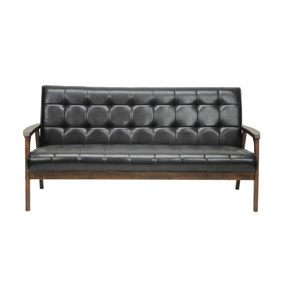 Baxton Studio Masterpiece Mid-Century Dark Brown Faux Leather Upholstered Sofa by Baxton Studio