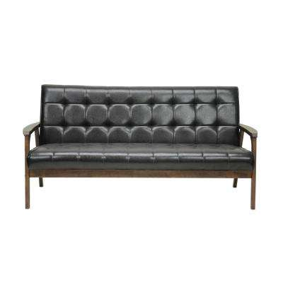 Masterpiece Mid-Century Dark Brown Faux Leather Upholstered Sofa