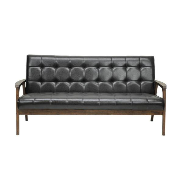 Baxton Studio Masterpiece Mid-Century Dark Brown Faux Leather Upholstered Sofa