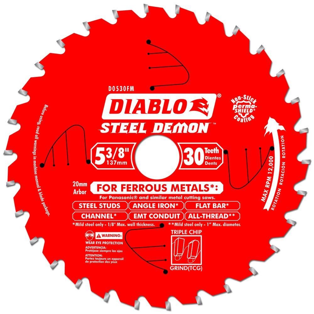 Diablo 5 38 in x 30 tooth x 20mm arbor steel demon ferrous metal diablo 5 38 in x 30 tooth x 20mm arbor steel demon ferrous metal cutting saw blade d0530fm the home depot greentooth Image collections