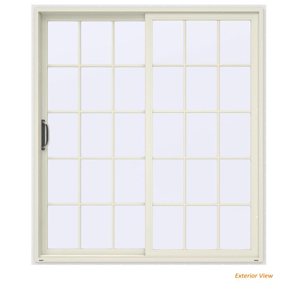 72 in. x 80 in. V-4500 Contemporary Vanilla Painted Vinyl Left-Hand 15 Lite Sliding Patio Door w/White Interior