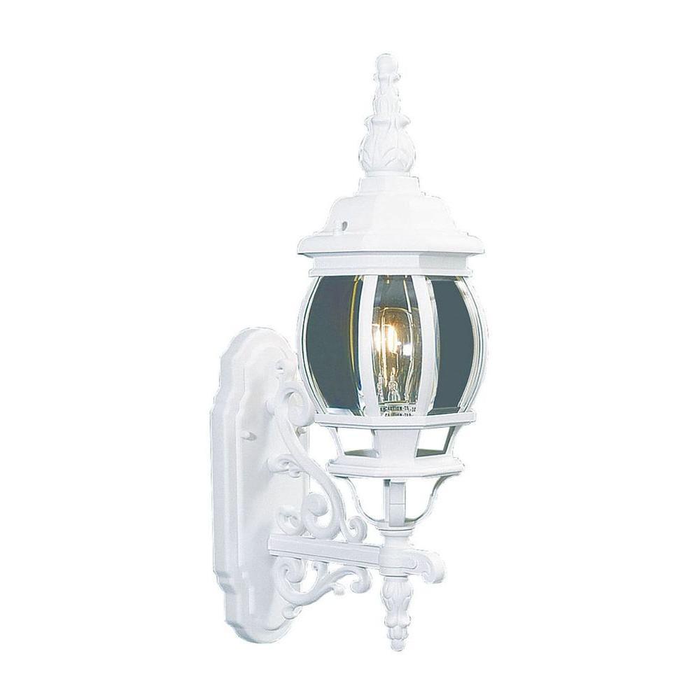 Livex Lighting Providence Wall-Mount 1-Light White Outdoor Incandescent Lantern