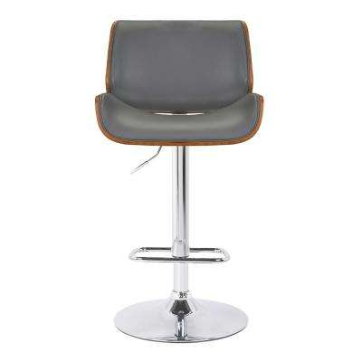 London Contemporary 37 in. to 46 in. Grey Faux Leather Swivel Barstool with Chrome and Walnut Wood