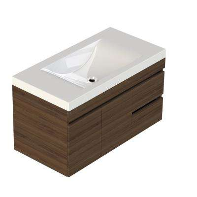 Viteli + Siena 37 in. W x 19 in. D Vanity in Walnut with Cultured Marble Vanity Top in White with White Basin