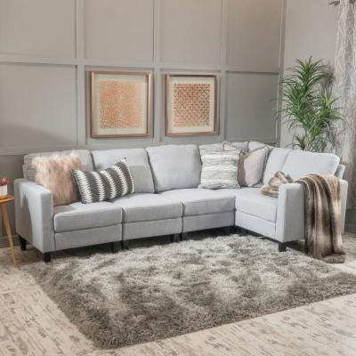 Etonnant 5 Piece Light Gray Fabric Sectional
