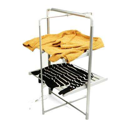 26 in. W x 42.5 in. H 100-Watt Silver Metal Electric Heated Foldable Portable Clothing Rack