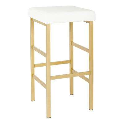 Metro 30 in. Gold Backless Stool in White