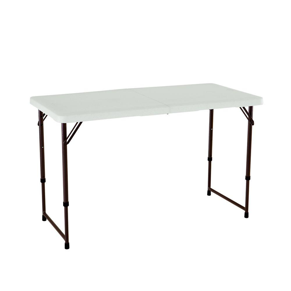 lifetime 48 in almond plastic adjustable height folding high top table 80455 the home depot. Black Bedroom Furniture Sets. Home Design Ideas