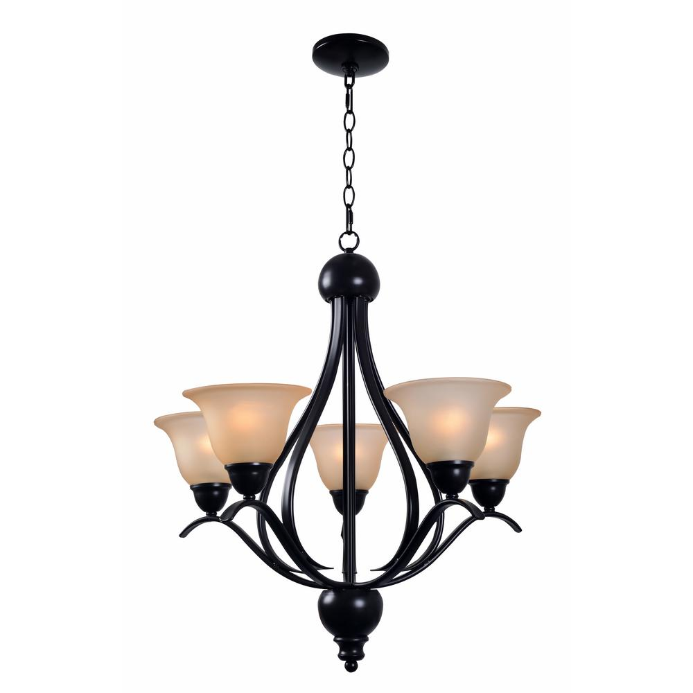 kenroy home harris 5 light bronze chandelier with amber glass shade 93735brz the home depot. Black Bedroom Furniture Sets. Home Design Ideas