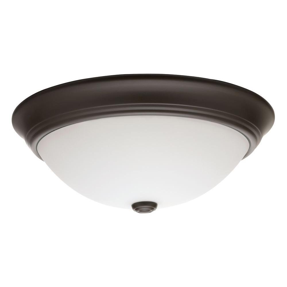 Essentials 14 in. Bronze LED Decor Round Flushmount with Shade