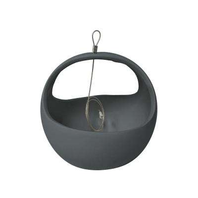 Basket 4-1/2 in. x 4-1/2 in. Dark Gray Ceramic Hanging Planter