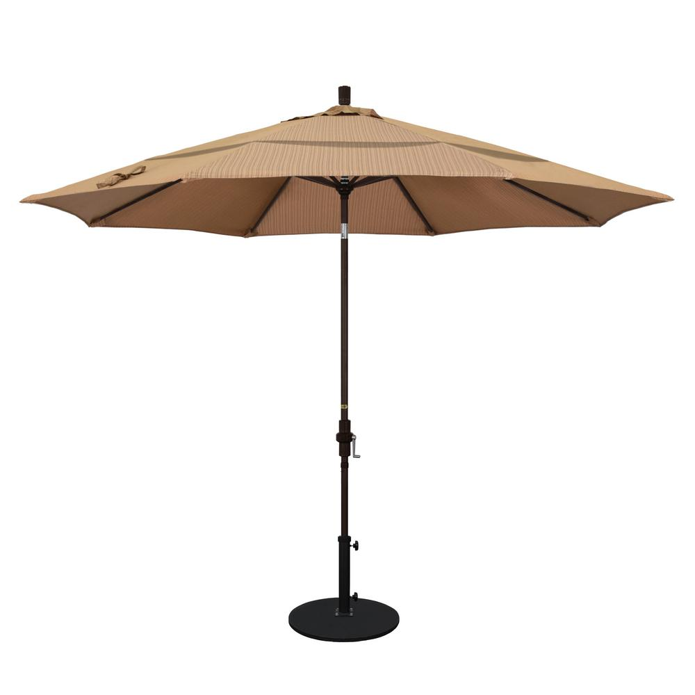 California Umbrella 11 ft. Aluminum Collar Tilt Double Vented Patio Umbrella in Terrace Sequoia Olefin