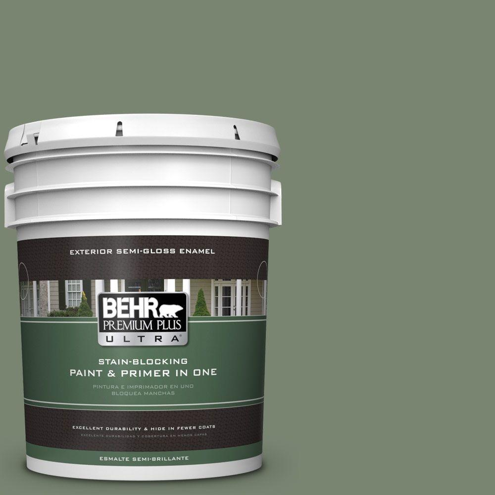 5-gal. #440F-5 Winter Hedge Semi-Gloss Enamel Exterior Paint