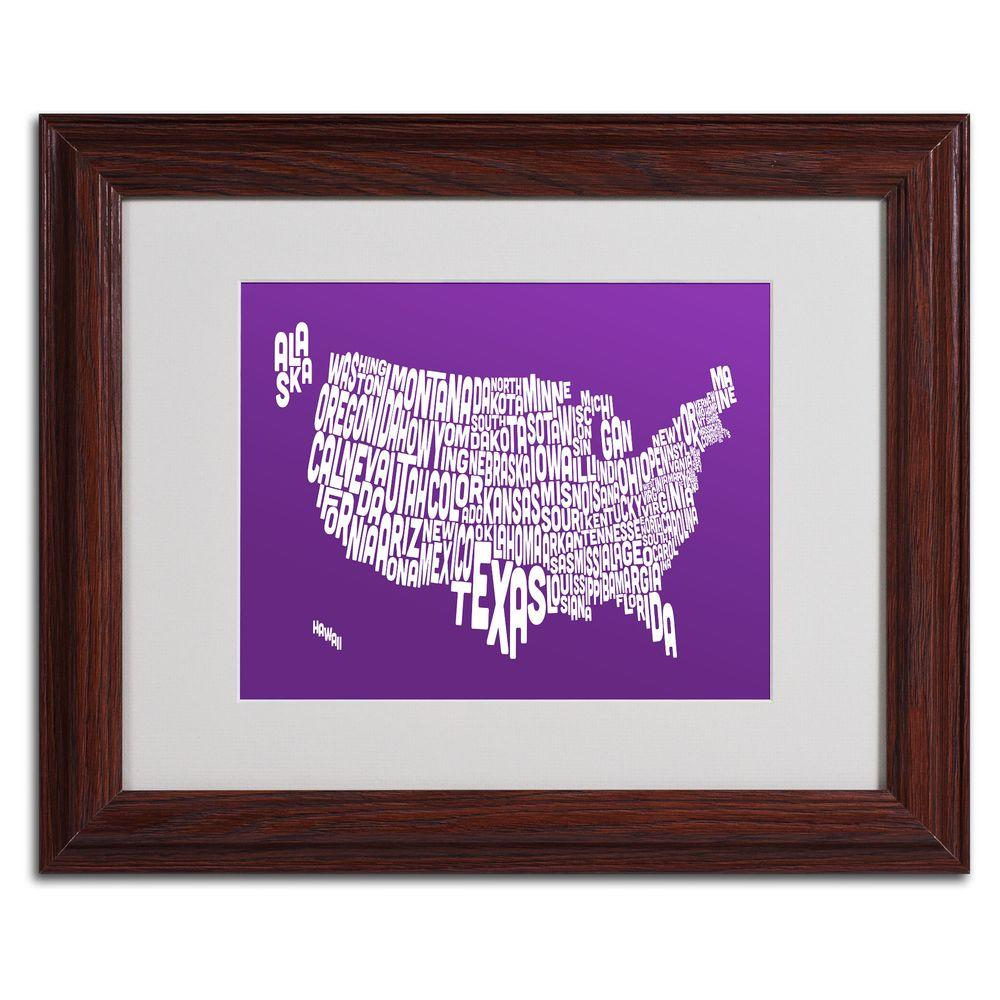 11 In X 14 In Usa States Text Map Purple Matted Framed Art