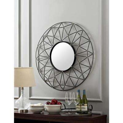 35 in. Round Geometric Frame Mirror with Gold Accents
