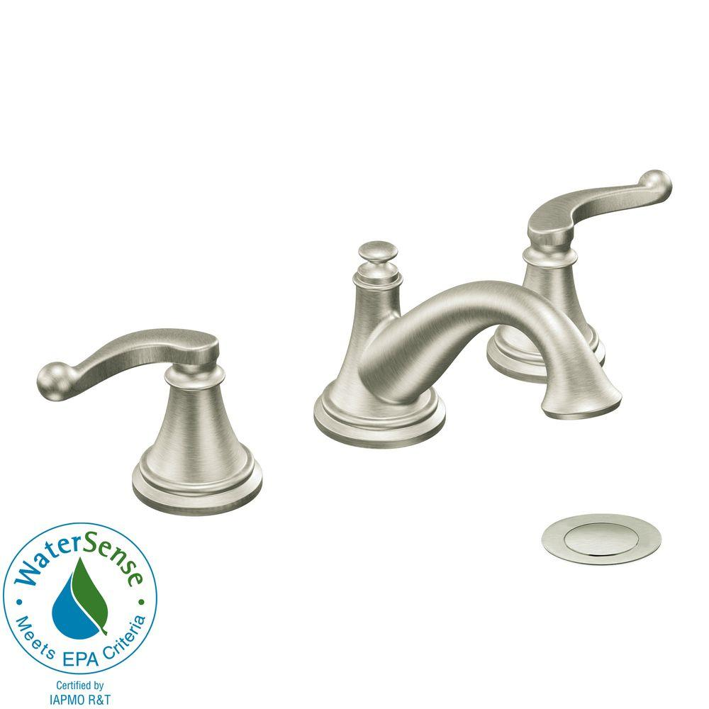 MOEN Savvy 8 in. Widespread 2-Handle Low-Arc Bathroom Faucet in Brushed Nickel Trim Only-DISCONTINUED