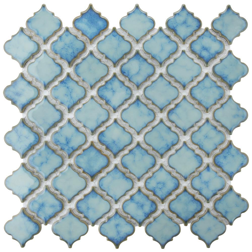 Merola Tile Hudson Tangier Marine Porcelain Mosaic Tile - 6 in. x 6 in. Tile Sample