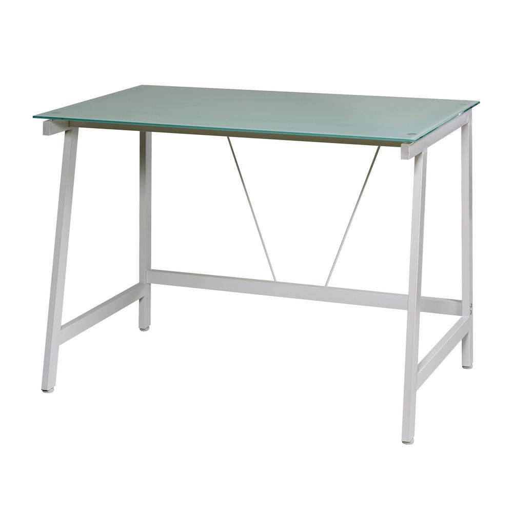 OneSpace Contemporary Glass White and Cool Blue Writing Desk with ...
