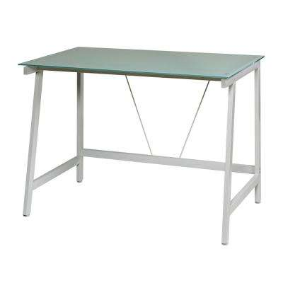 Contemporary Glass White and Cool Blue Writing Desk with Steel Frame