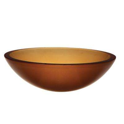 Translucence Above-Counter Round Glass Vessel Sink in Frosted Amber
