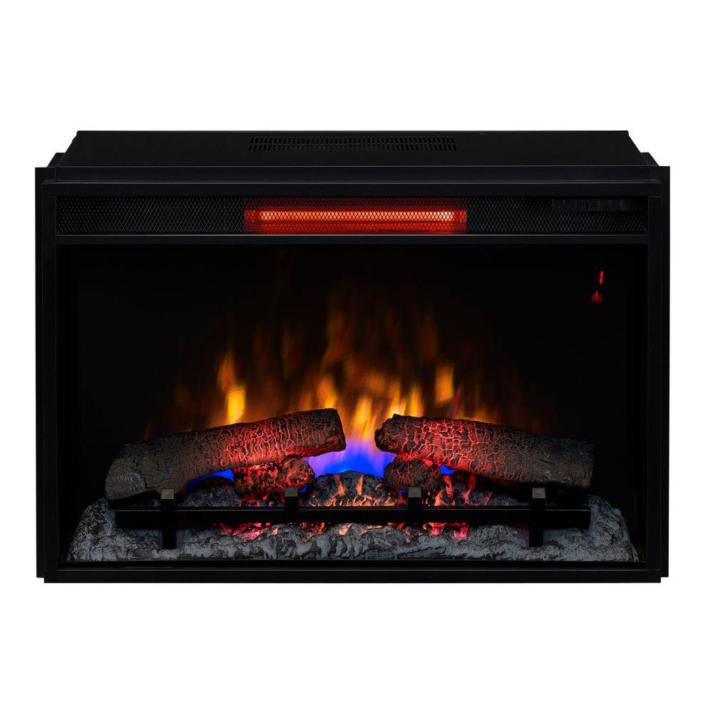 26 in infrared quartz electric fireplace insert with flush mount