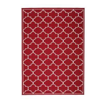 Makena Red and Ivory 8 ft. x 11 ft. Geometric Indoor Area Rug