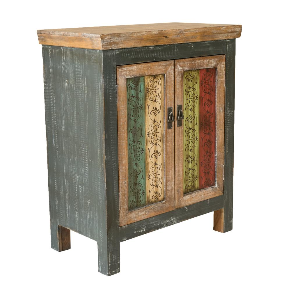 Bon Noble House Distressed Multi Colored Storage Cabinet With Vintage Designed  Doors