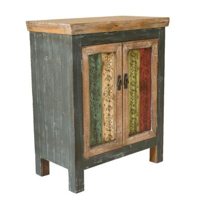 Distressed Multi-Colored Storage Cabinet with Vintage-Designed Doors