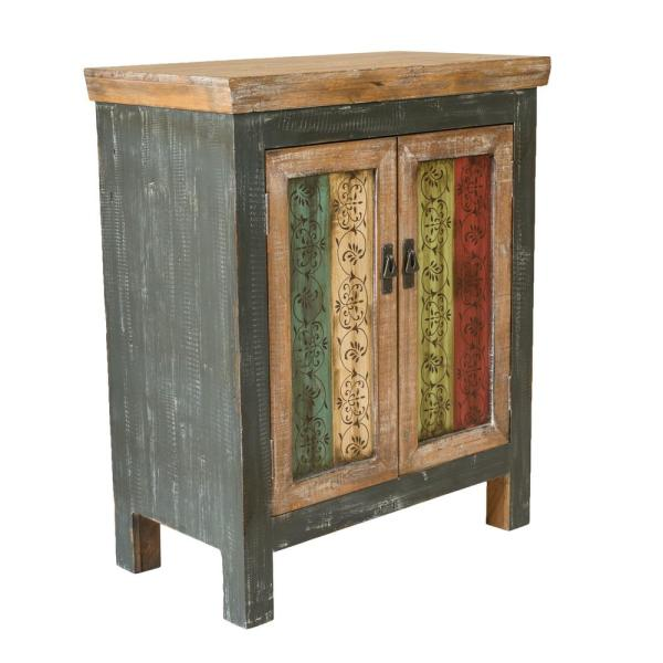 Distressed Multi Colored Storage Cabinet With Vintage Designed Doors